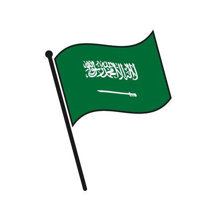 Simple flag Saudi Arabia icon isolated on white background Illustration