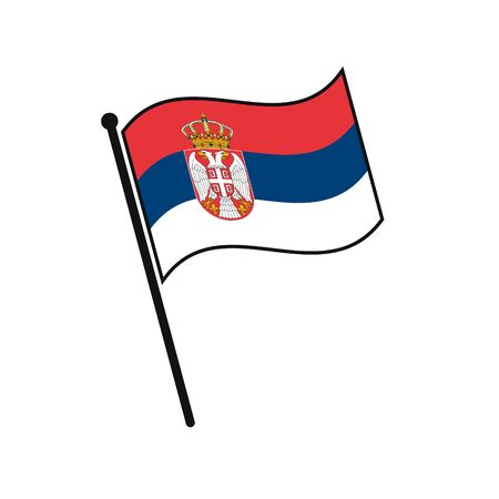 Simple flag Serbia icon isolated on white background Illustration