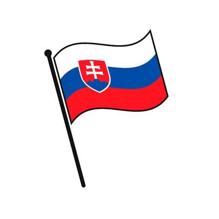 Simple flag Slovakia icon isolated on white background