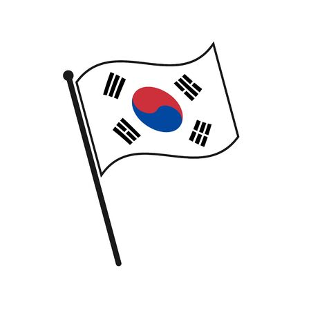 Simple flag South Korea icon isolated on white background Иллюстрация