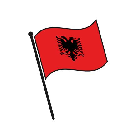 Simple flag Albania icon isolated on white background