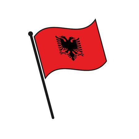 Simple flag Albania icon isolated on white background