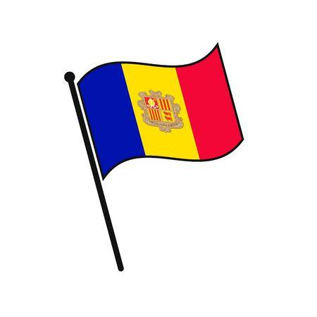 Simple flag Andorra icon isolated on white background
