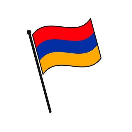 Simple flag Armenia icon isolated on white background