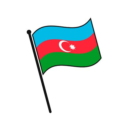 Simple flag Azerbaijan icon isolated on white background
