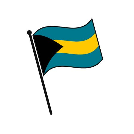 Simple flag Bahamas icon isolated on white background