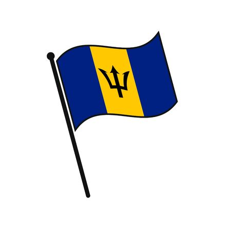 Simple flag Barbados icon isolated on white background