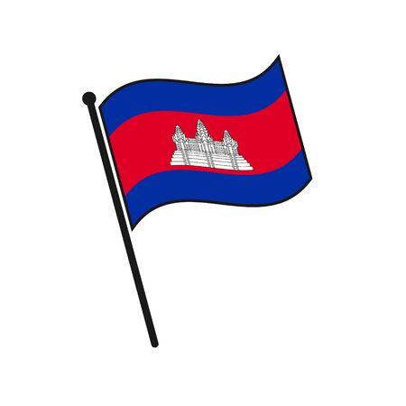 Simple flag Cambodia icon isolated on white background