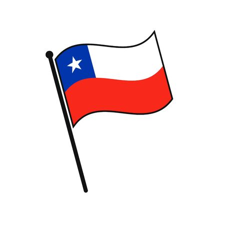Simple flag Chile icon isolated on white background