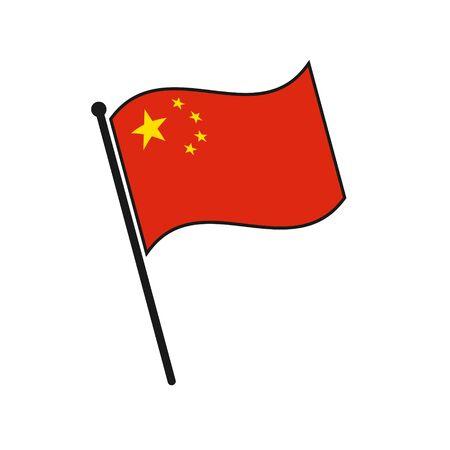 Simple flag China icon isolated on white background