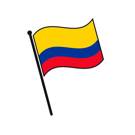 Simple flag Colombia icon isolated on white background