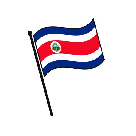 Simple flag Costa Rica icon isolated on white background