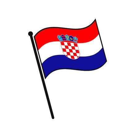 Simple flag Croatia icon isolated on white background