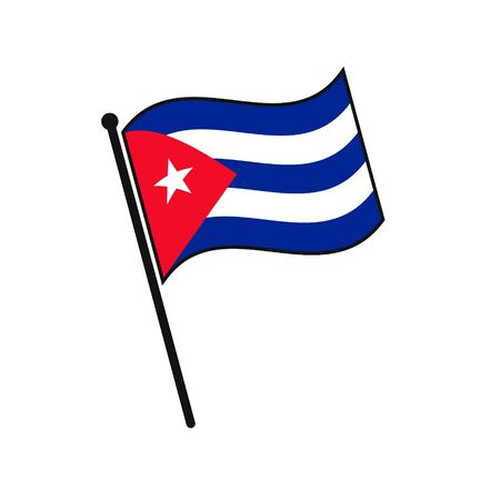 Simple flag Cuba icon isolated on white background