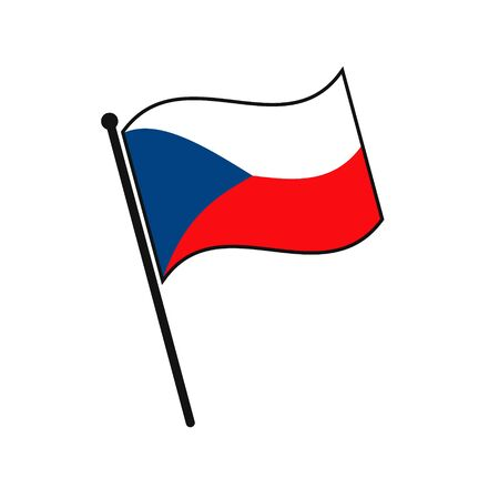 Simple flag Czech Republic icon isolated on white background