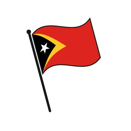 Simple flag East Timor icon isolated on white background