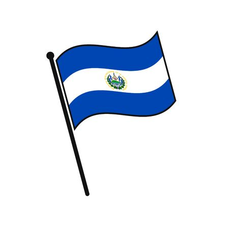Simple flag El Salvador icon isolated on white background 일러스트