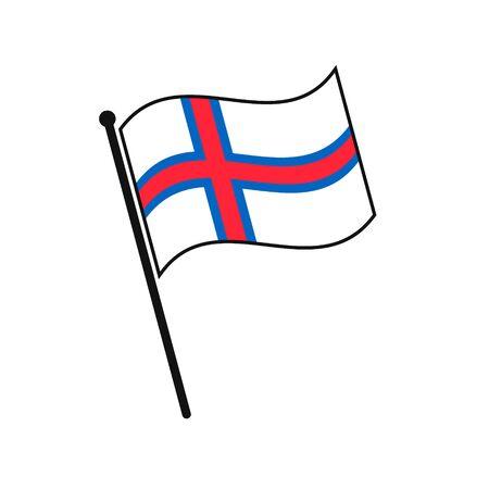 Simple flag Faroe Islands icon isolated on white background 일러스트
