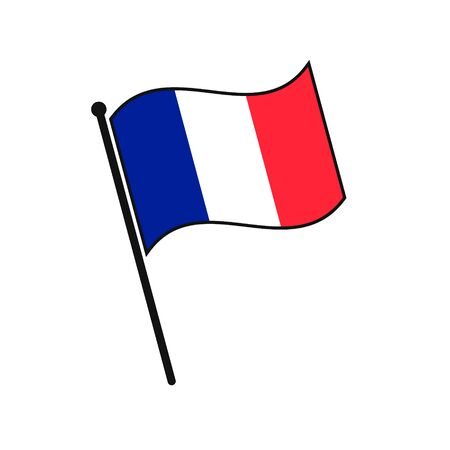 Simple flag France icon isolated on white background