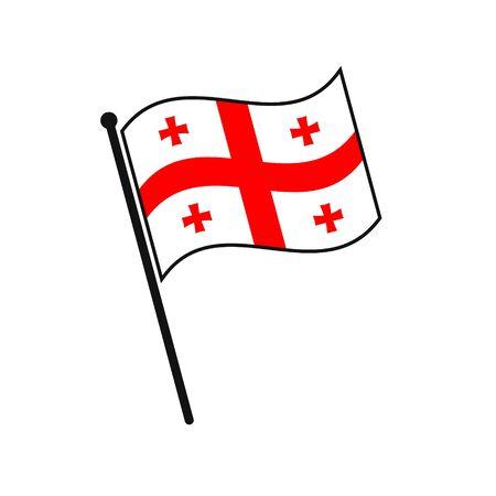 Simple flag Georgia icon isolated on white background