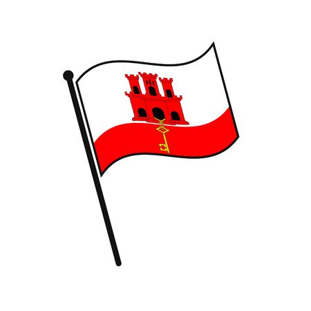 Simple flag Gibraltar icon isolated on white background 일러스트