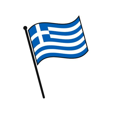 Simple flag Greece icon isolated on white background