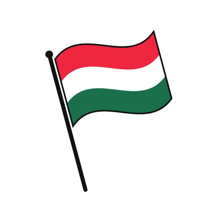 Simple flag Hungary icon isolated on white background 일러스트