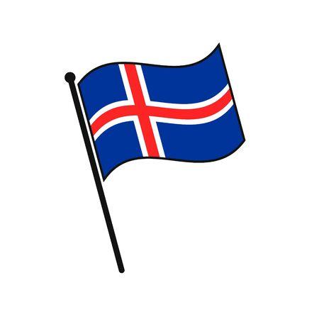 Simple flag Iceland icon isolated on white background