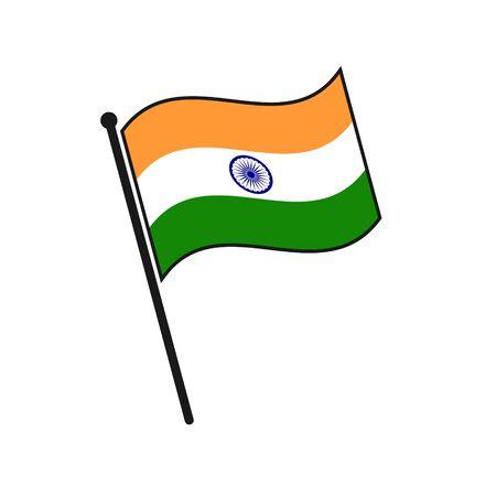 Simple flag India icon isolated on white background
