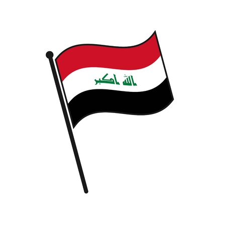 Simple flag Iraq icon isolated on white background