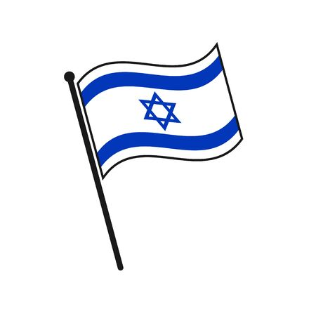 Simple flag Israel icon isolated on white background