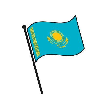 Simple flag Kazakhstan icon isolated on white background 일러스트