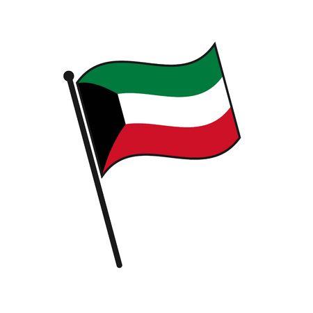 Simple flag Kuwait icon isolated on white background