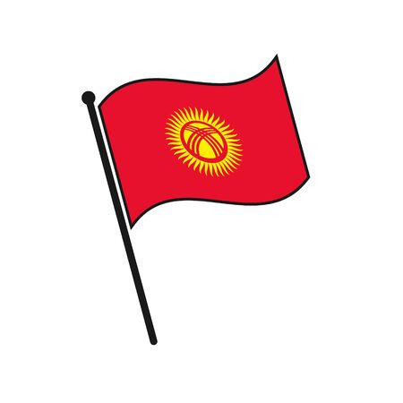Simple flag Kyrgyzstan icon isolated on white background