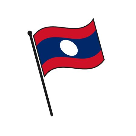 Simple flag Laos icon isolated on white background