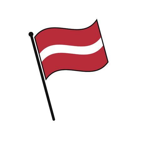 Simple flag Latvia icon isolated on white background