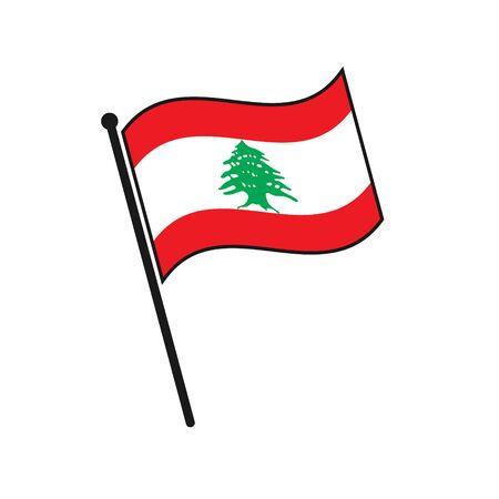 Simple flag Lebanon icon isolated on white background