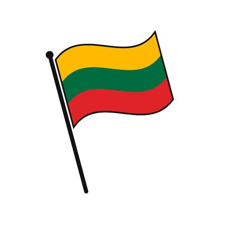 Simple flag Lithuania icon isolated on white background