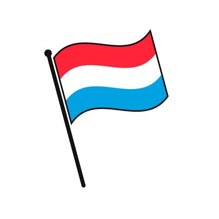 Simple flag Luxembourg icon isolated on white background