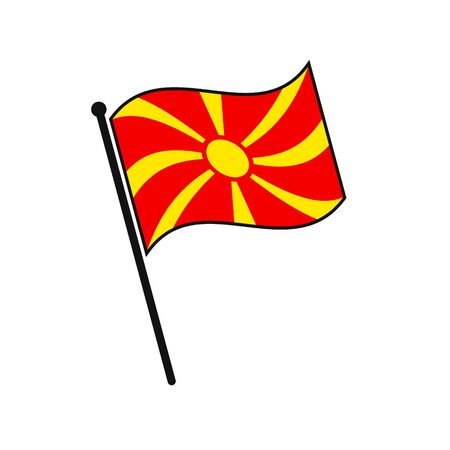 Simple flag Macedonia icon isolated on white background