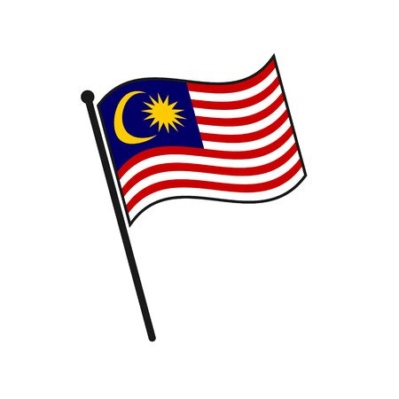 Simple flag Malaysia icon isolated on white background