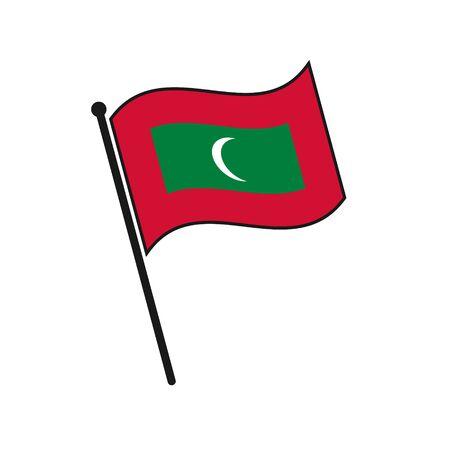 Simple flag Maldives icon isolated on white background