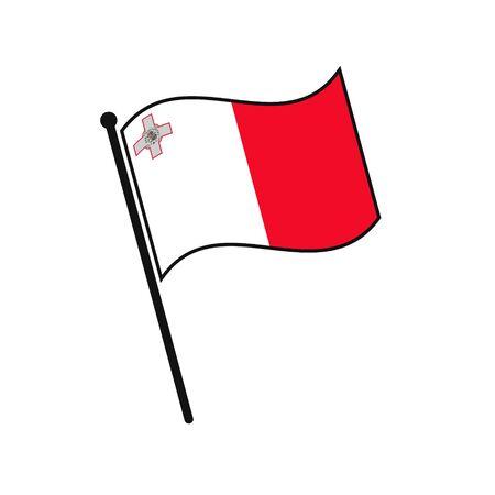 Simple flag Malta icon isolated on white background 일러스트