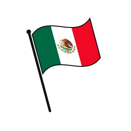 Simple flag Mexico icon isolated on white background
