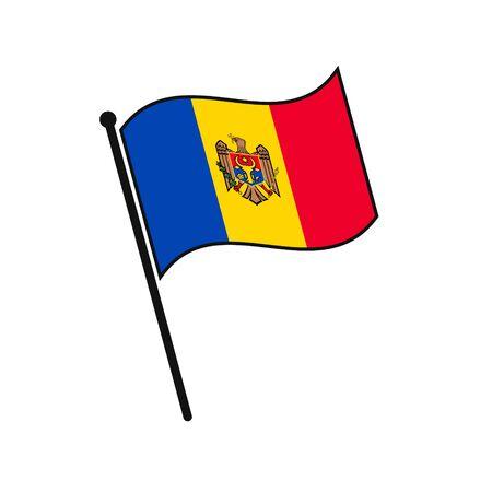 Simple flag Moldova icon isolated on white background 일러스트