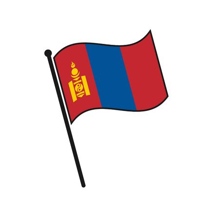 Simple flag Mongolia icon isolated on white background