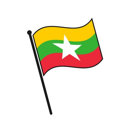 Simple flag Myanmar icon isolated on white background 일러스트