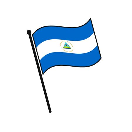 Simple flag Nicaragua icon isolated on white background