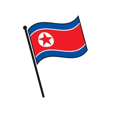 Simple flag North Korea icon isolated on white background