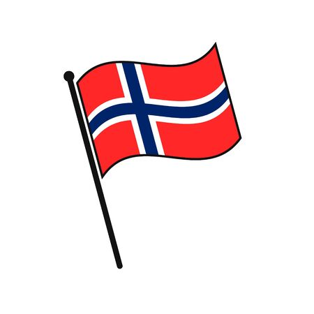 Simple flag Norway icon isolated on white background